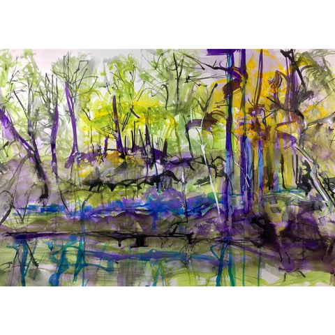Justin Twigg Original Art JT011 Bluebells on the canal by Justin Twigg