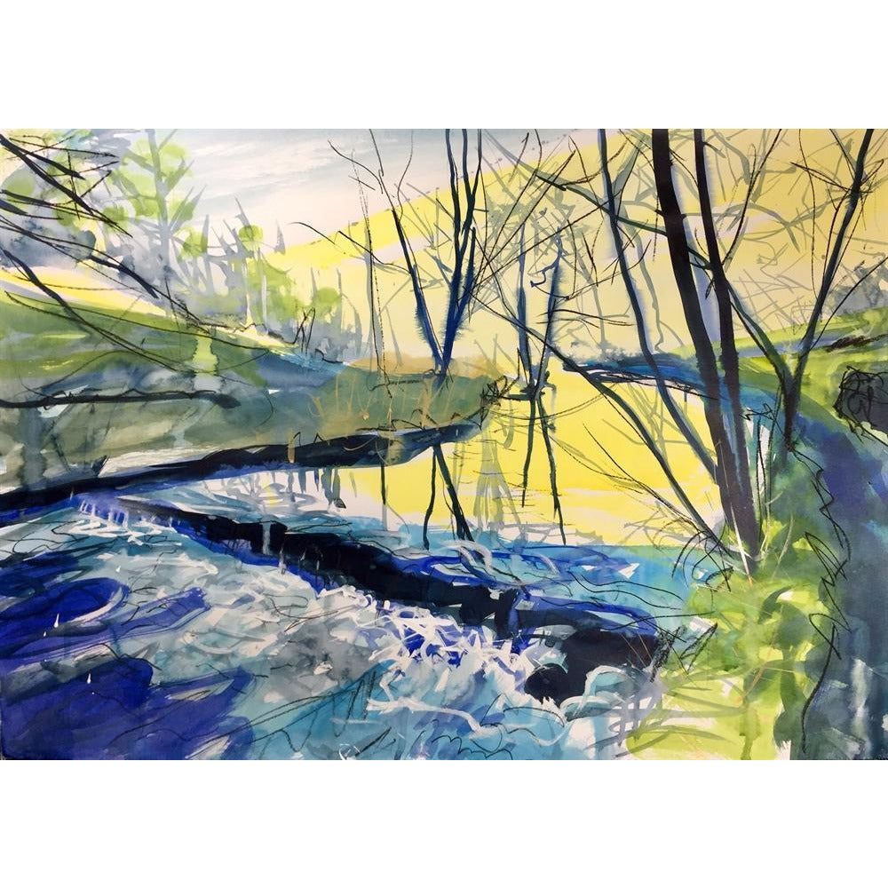 Justin Twigg Original Art Some Weir on the River Dove by Justin Twigg