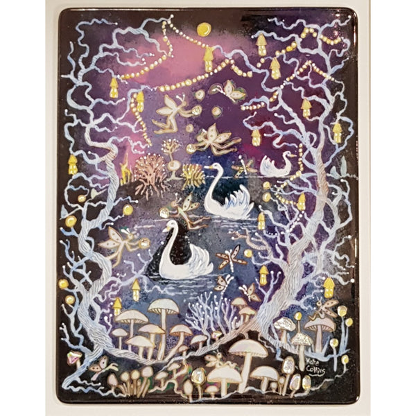 Kate Collins Ceramics Framed Handpainted Tile Night Fairy Land Swan Lake by Kate Collins