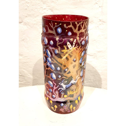 Kate Collins Ceramics KCL Red Fairyland Red Chubby Vase by Kate Collins