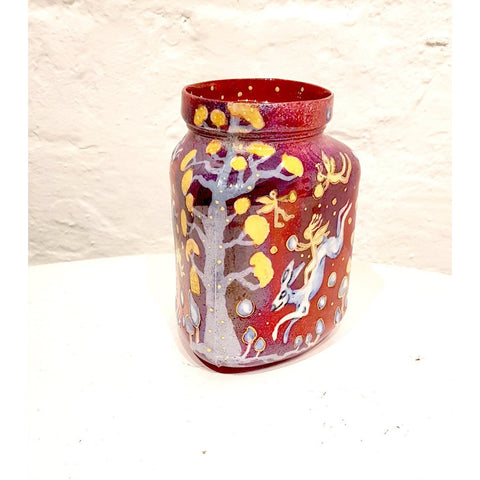 Kate Collins Ceramics KCL Red Fairyland Red Triangular Chubby Vase by Kate Collins
