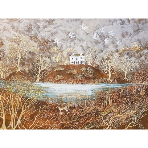 Kate Collins Original Art KCET1 Lonely House Egg Tempera by Kate Collins