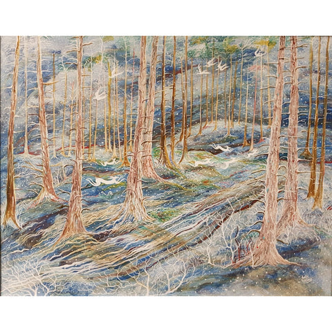 Kate Collins Original Art KCET2 Frosty Morning Egg Tempera by Kate Collins