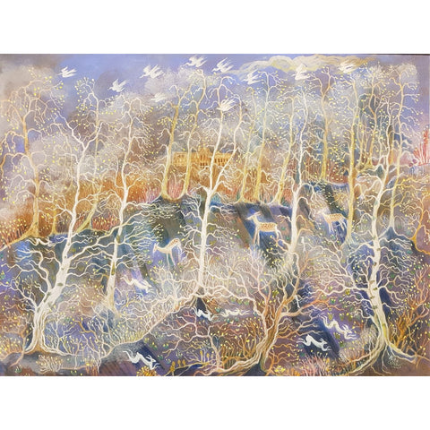 Kate Collins Original Art KCET3 Frosty Morning Egg Tempera by Kate Collins