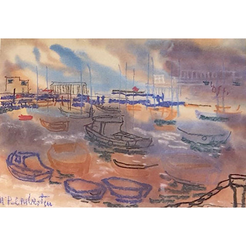 Drawing of Boats in Harbour by Muriel Pemberton | Original Art by Muriel Pemberton | Barewall Art Gallery