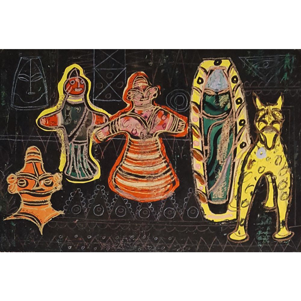 Muriel Pemberton Original Art Tribal Figures 1949 by Muriel Pemberton