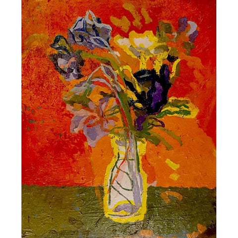 Muriel Pemberton Original Art Vase of Flowers - oil painting by Muriel Pemberton