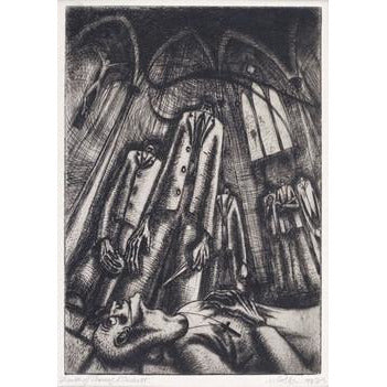 Etching of The Death of Thomas A Beckett 1943 by Norman Cope | Original Art by Norman Cope | Barewall Art Gallery