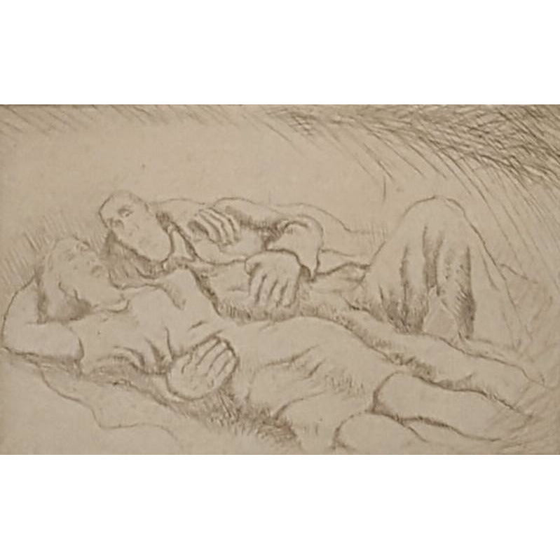 Norman Cope Original Art Man and Woman Resting Etching 1943 by Norman Cope