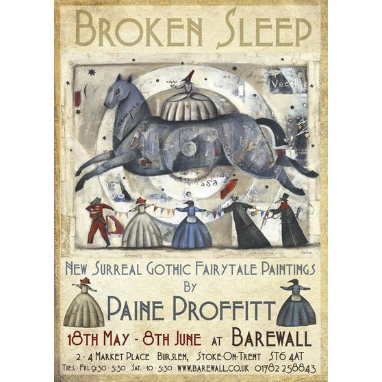 Paine Proffitt Posters Signed Broken Sleep Exhibition Poster by Paine Proffitt