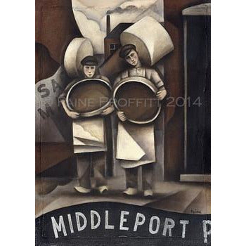 Paine Proffitt Print Middleport Pottery Saggar Makers Print by Paine Proffitt