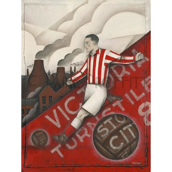 Stoke City Turnstile 8 Limited Edition Football Print by Paine Proffitt
