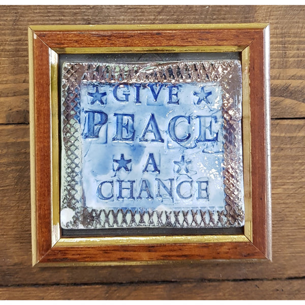 Philip Hardaker Ceramics Give Peace a Chance Framed Tile by Philip Hardaker