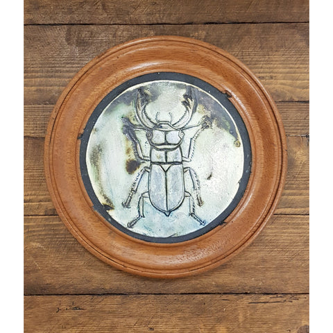 Philip Hardaker Ceramics Stag Beetle II Framed by Philip Hardaker