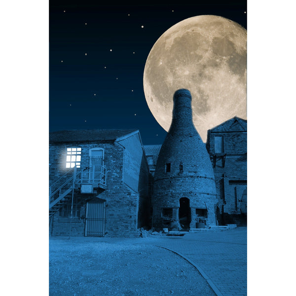 Photography print Moon over Minkstone Works, Longton Moon over the Potteries Collection by Richard Howle