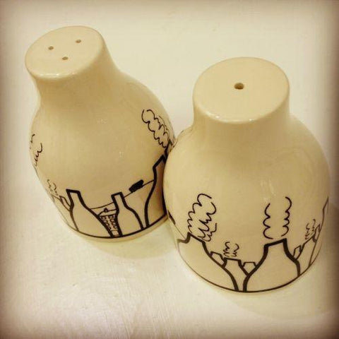 Bottle shaped Salt and Pepper Set by Nathan Smallman | Gift by Potteries Gifts | Barewall Art Gallery