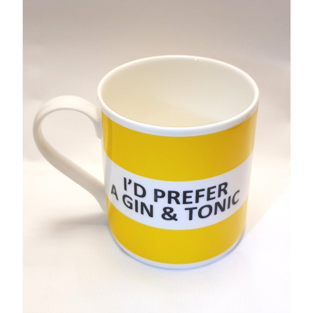 Potteries Gifts Gift I'd Prefer a Gin & Tonic Fine Bone China Mug by The Pot Bank