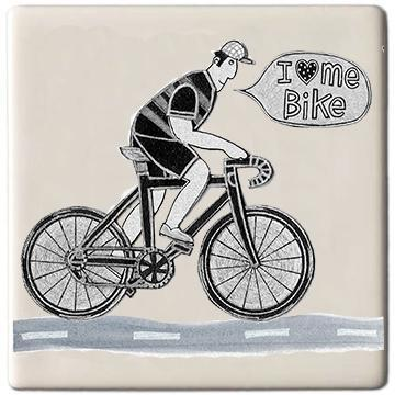 Potteries Gifts Gift I Love Me Bike Coaster by Moorland Pottery