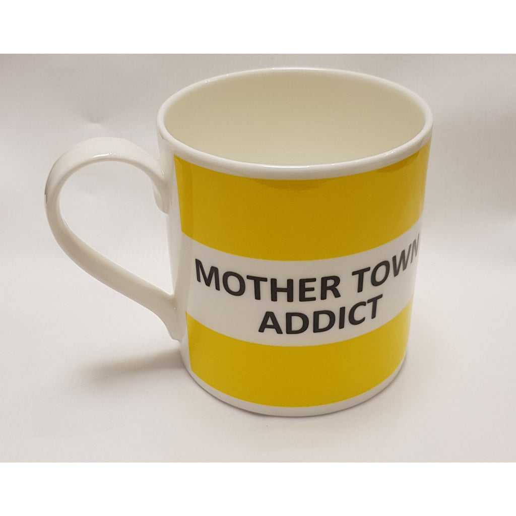 Mother Town Addict Yelloe Fine Bone China Mug by The Pot Bank other colours available visit www.barewall.co.uk