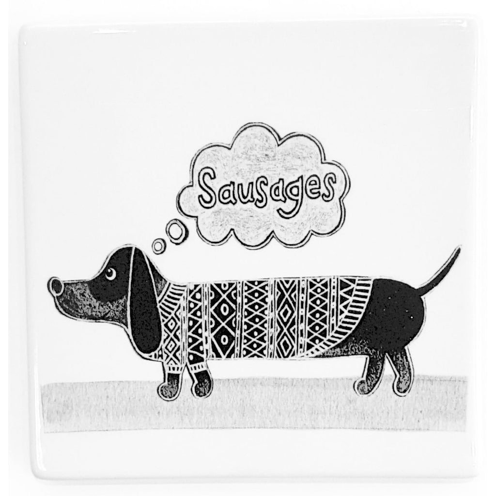 Potteries Gifts Gift Sausage Dog Coaster by Moorland Pottery