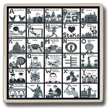 Potteries Gifts Gift Stokie Alphabet Coaster by Moorland Pottery
