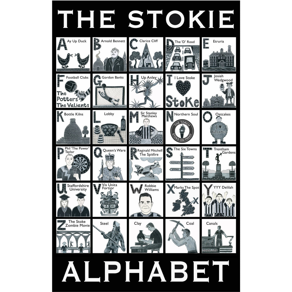 Potteries Gifts Gift Stokie Alphabet Teatowel by Moorland Pottery