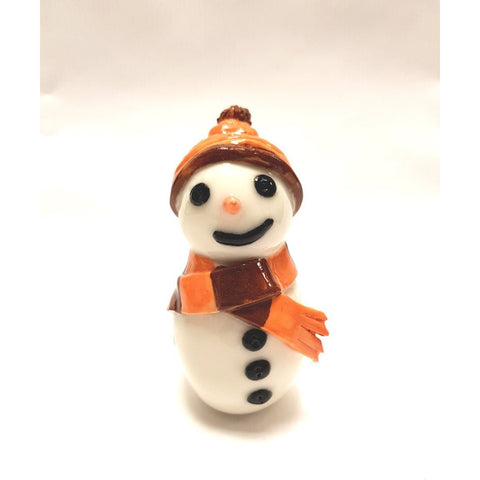 BC24 Ceramic Snowman with Orange Striped Scarf by Barbara Chadwick | ceramics by Pottery - Handpainted | Barewall Art Gallery
