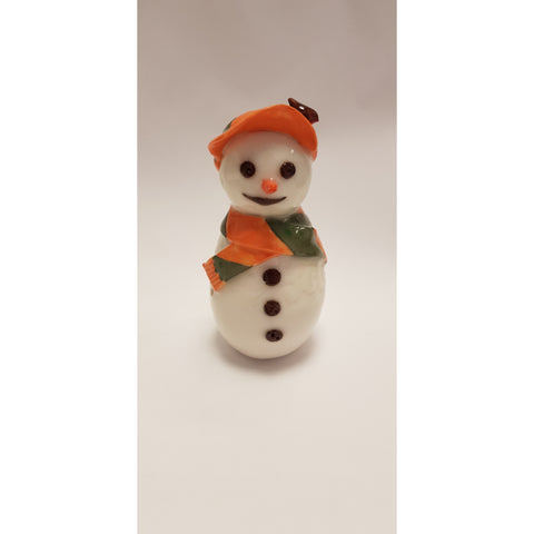 Pottery - Handpainted ceramics BC39 Ceramic Snowman with Orange Cap and Green Scarf by Barbara Chadwick