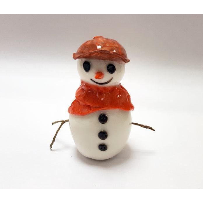 BC5 Orange Ceramic Snowman by Barbara Chadwick | ceramics by Pottery - Handpainted | Barewall Art Gallery