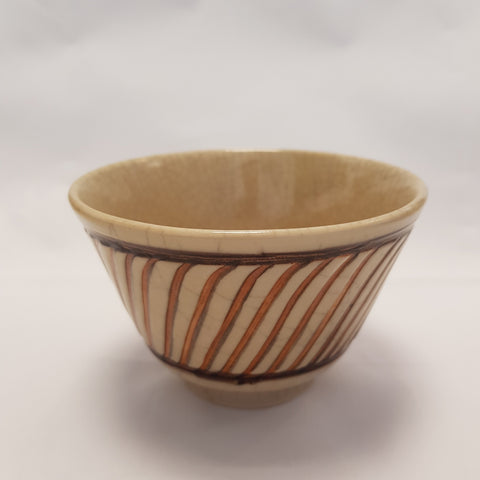 Hand thrown incised decorated crackle bowl by Agnete Hoy | Ceramics by Pottery - Handpainted | Barewall Art Gallery