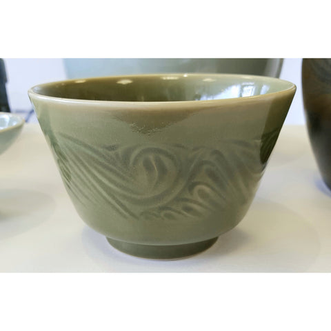Pottery - Handpainted Ceramics Hand thrown incised decorated green bowl by Agnete Hoy