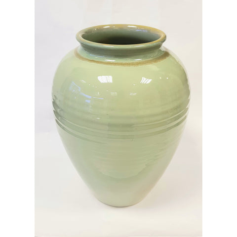 Pottery - Handpainted Ceramics Large hand thrown vase decorated light green glaze bowl by Bullers