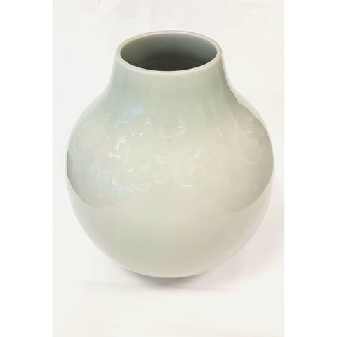 Pottery - Handpainted Ceramics Large hand thrown vase incised decorated and celadon glaze by Bullers