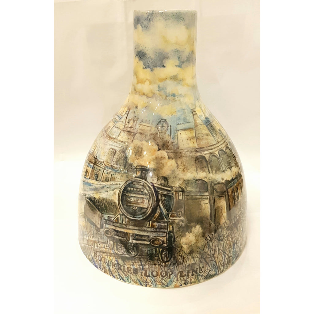 Pottery - Handpainted Ceramics LJ14 Potteries Loop Line Hand Painted Large Ceramic Bottle Kiln by Lyn James