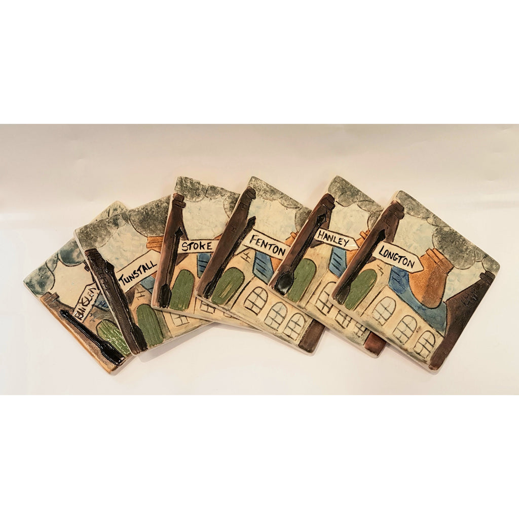 Pottery - Handpainted ceramics Personalised Small Stoneware 6 Towns Potteries Signpost Tile by Burslem Pottery