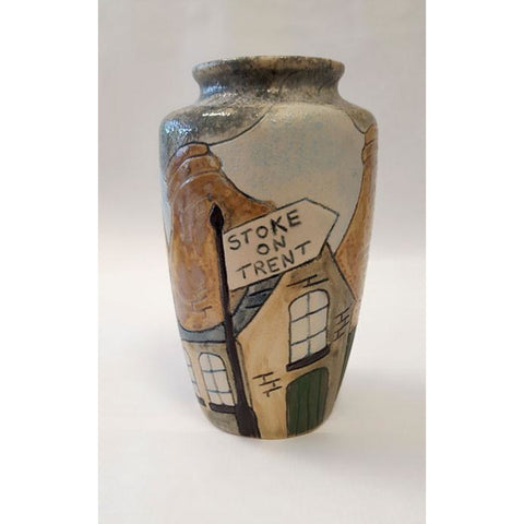 Pottery - Handpainted Ceramics Personalised Small Stoneware Potteries Signpost Vase by Burslem Pottery
