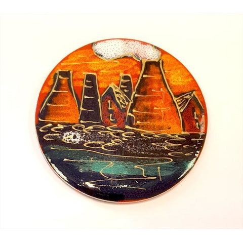 Pottery - Handpainted Ceramics Potteries Past Coaster Tile by Anita Harris Art Pottery
