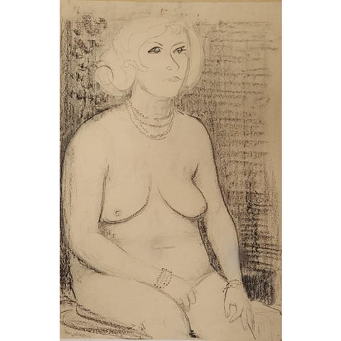 Raymond Coxon Original Art RC4 Signed Seated Nude Sketch by Raymond Coxon