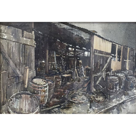 Reginald Haggar Original Art The Cooperage in Lytton Street, Stoke 1969 by Reginald Haggar