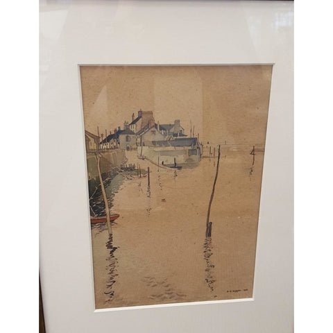 Reginald Haggar Original Art Watchet Harbour watercolour signed 1936 by Reginald Haggar