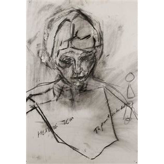Richard Fitton Original Art Head of Jem III Charcoal by Richard Fitton