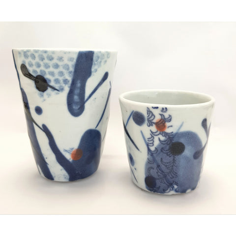 Studio Pottery Ceramics 7cm x 7cm Blue and White Porcelain Ceramic Beakers by Andrew Matheson RBSA
