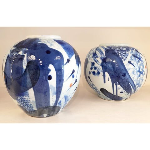 Blue and White Porcelain Ceramic Round Form Vases by Andrew Matheson RBSA | Ceramics by Studio Pottery | Barewall Art Gallery