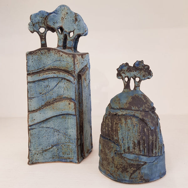 Studio Pottery Ceramics Blue Tree Form Ceramic Sculptures by Andrew Matheson RBSA