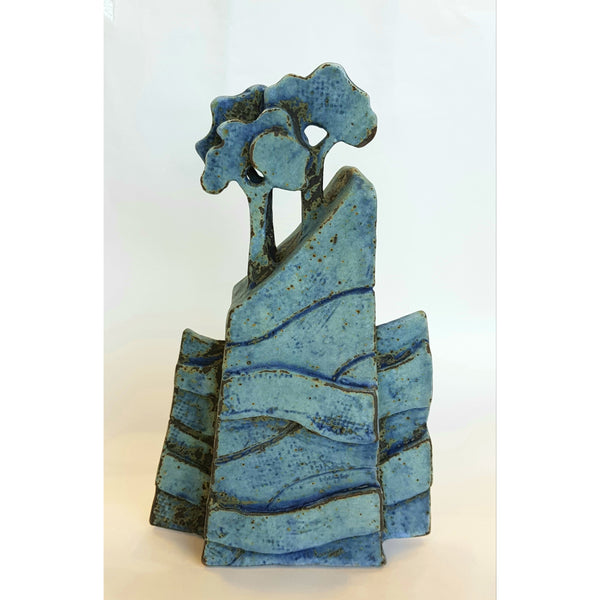 Studio Pottery Ceramics 13cm x 22cm Blue Tree Form Ceramic Sculptures by Andrew Matheson RBSA