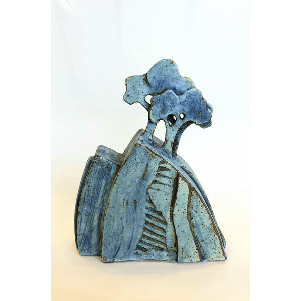 Studio Pottery Ceramics 15cm x 18.5cm Blue Tree Form Ceramic Sculptures by Andrew Matheson RBSA