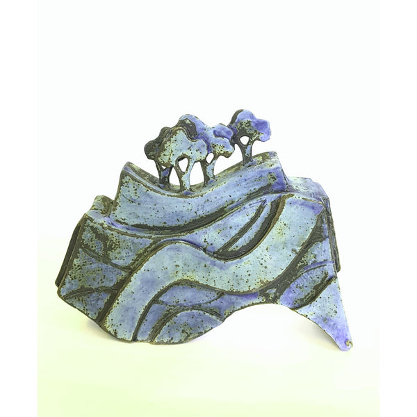 Studio Pottery Ceramics 20cm x 16cm Blue Tree Form Ceramic Sculptures by Andrew Matheson RBSA