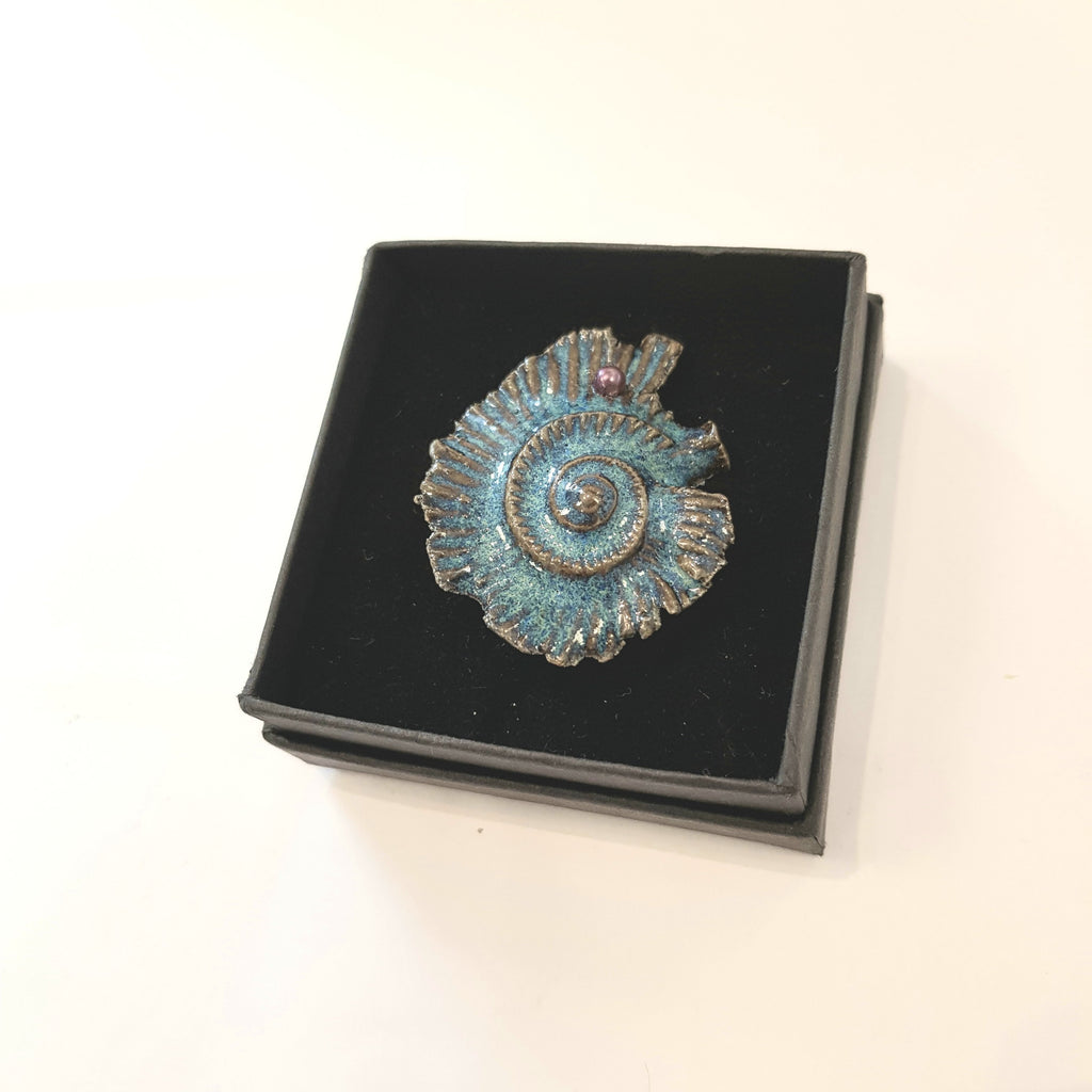 Studio Pottery Ceramics Ceramic Fossil Ammonite Brooch with Glazed Ceramic Bead by Lorraine Bates