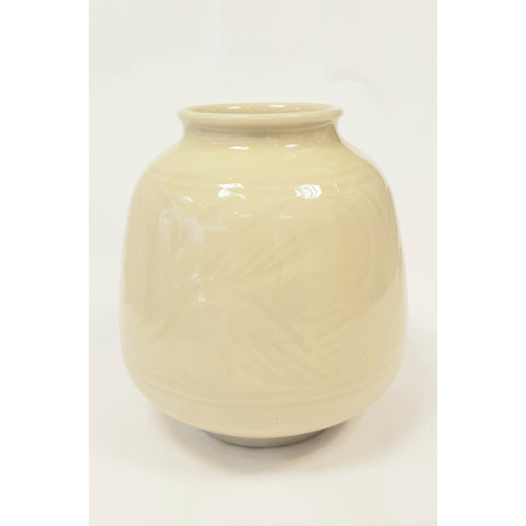 Studio Pottery Ceramics Hand thrown hand incised decorated yellow vase by Agnete Hoy