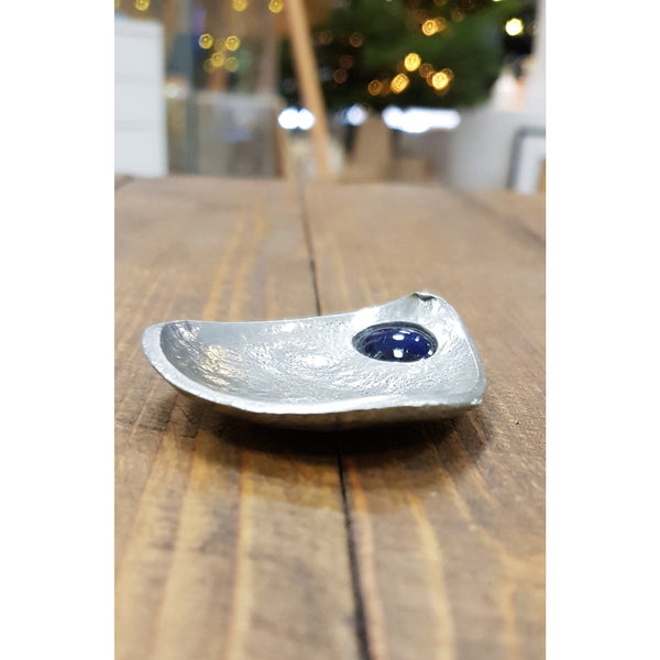 Studio Pottery Ceramics Blue Pewter Tea Scoop with with Glazed Ceramic Bead by Lorraine Bates